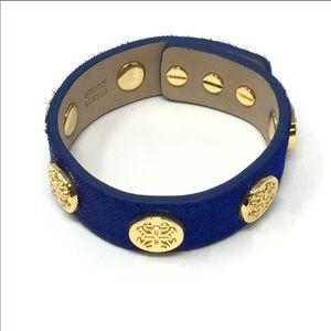 Rustic Cuff Meagan Blue Calf Hair Studded Bracelet
